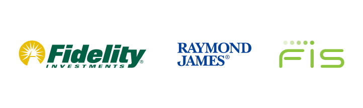 Logos: Fidelity Investments, Raymond James, and FIS